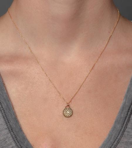 Lulu Designs Marrakesh Necklace with White Diamond - Yellow Bronze
