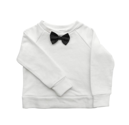 KIDS The Tiny Universe Tiny Bow Jersey Sweatshirt - WHITE