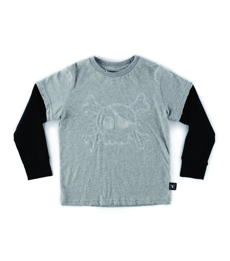 kids nununu festive skull t-shirt - heather grey