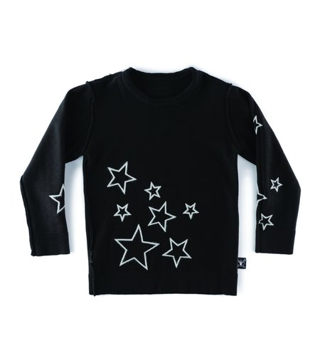 kids nununu knit star sweater - black