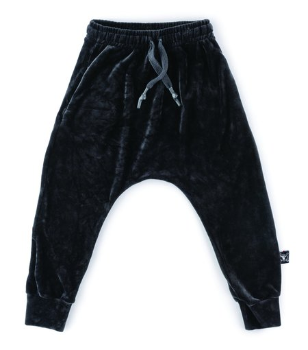kids nununu velvet baggy pants - black