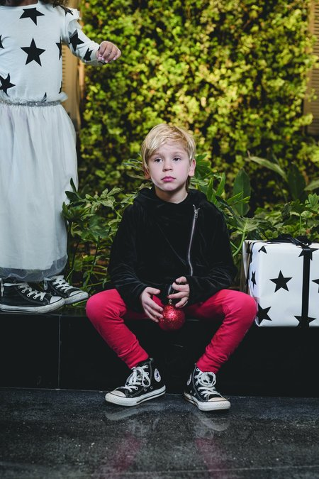 kids nununu velvet biker jacket - black