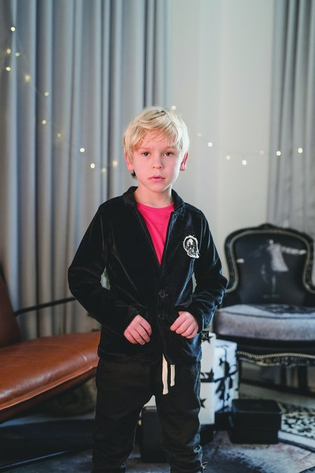 kids nununu velvet jacket - black