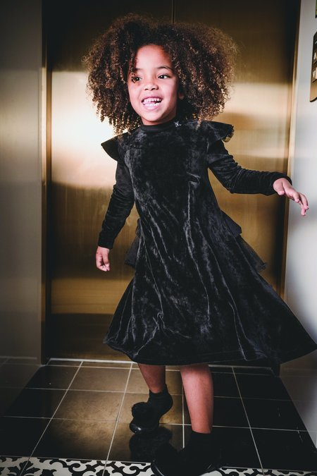 Kids Nununu Velvet Party Dress - Black