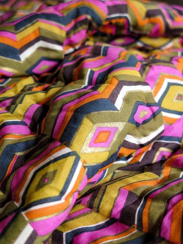 Erica Tanov hand-stitched quilt - echoed zig zag