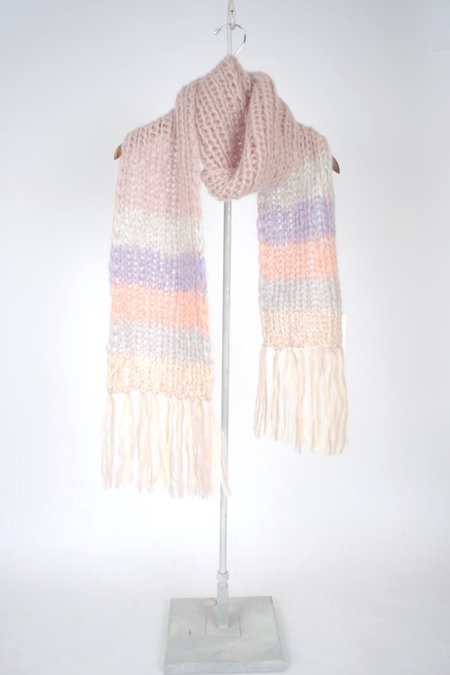 Maiami Mohair Basic Scarf with Gradient Border - ROSE