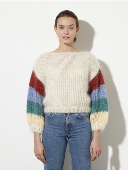 Maiami Mohair Big Sweater with Striped Arm - CREME