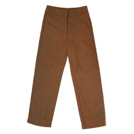 Ali Golden SILK FLY FRONT PANT - COPPER