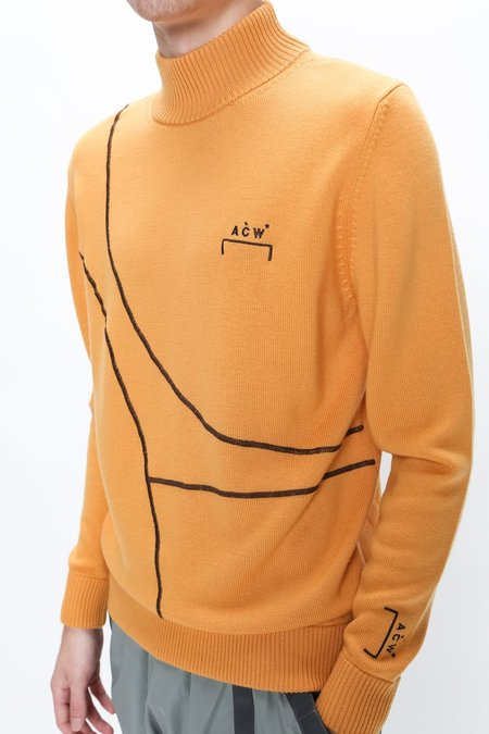 A Cold Wall 3D Rubberized Print Turtleneck Sweater - Mustard