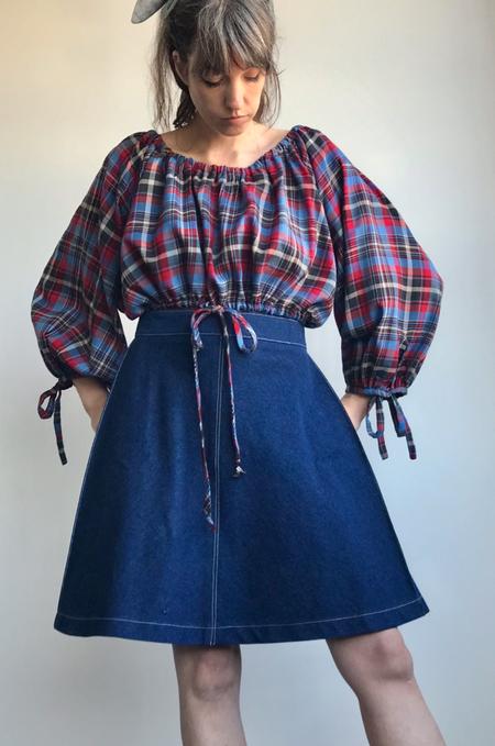 Eliza Faulkner Poet Plaid Top - Blue/red plaid