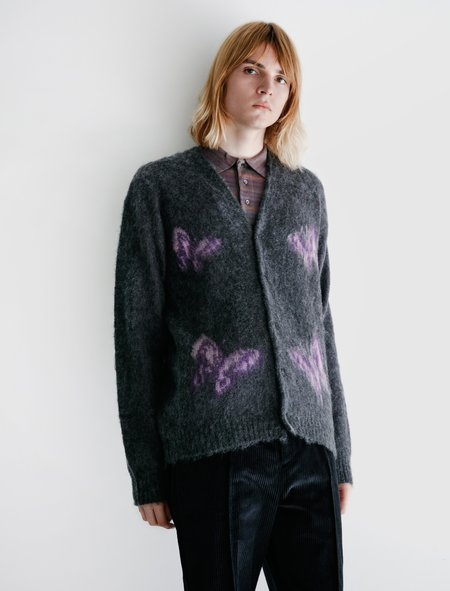 Needles Mohair Cardigan - Papillon Charcoal