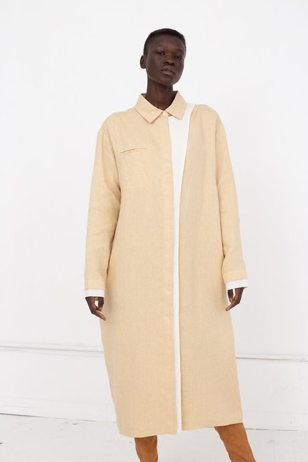 Nehera Dono Linen Wool Blend Dress - Egg Shell