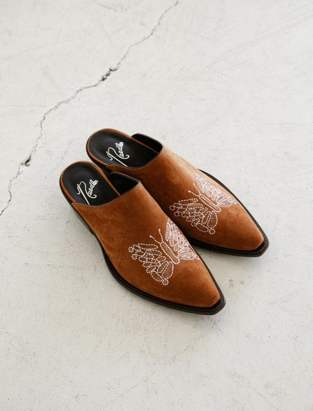 Needles Heeled Papillon Embroidered Mule - Brown