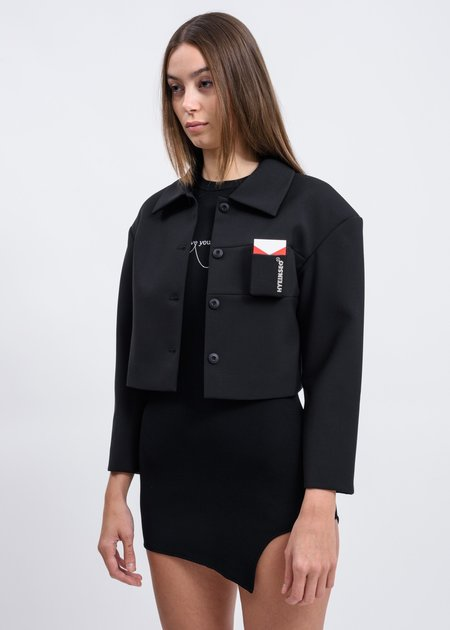 Hyein Seo Cropped Smoker's Jacket - Black