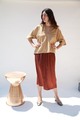 Miranda Bennett Muse Top, Silk Noil in Camel