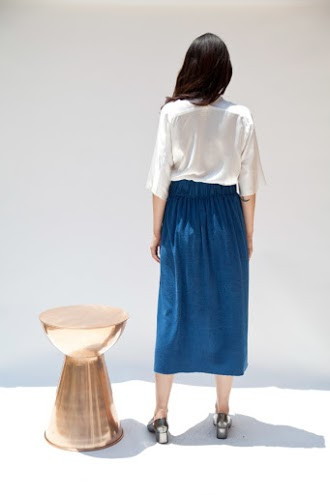 Miranda Bennett Paper Bag Skirt, Silk Noil in Indigo