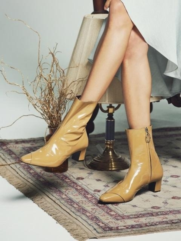 DITOLE Rora Patent Boots Mud Beige on Garmentory
