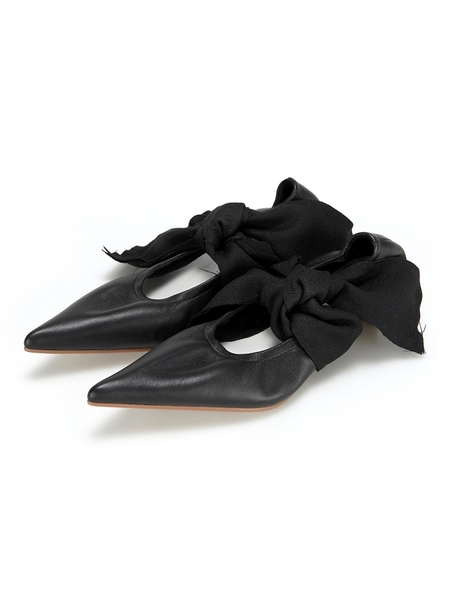 Flat Apartment Front Ties Pointed Heels - Black