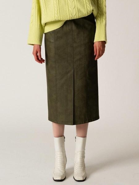 WNDERKAMMER Leather Stitch Skirt - Khaki