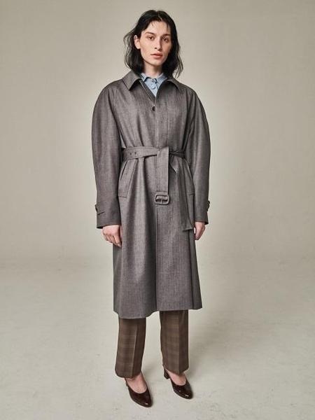 Bouton Blown Sleeve Trench Coat - Grey Herringbone