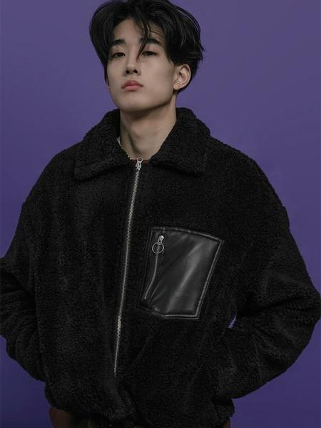Unisex BC BY BEYONDCLOSET Zip Up Fake Fur Mix Leather Jumper - Black