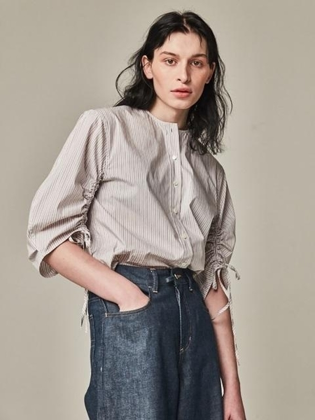 Bouton Blown Sleeve Blouse - White Stripe