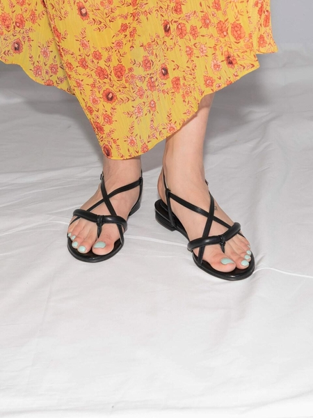 DITOLE Poppy Tong Sandals - Neon Black