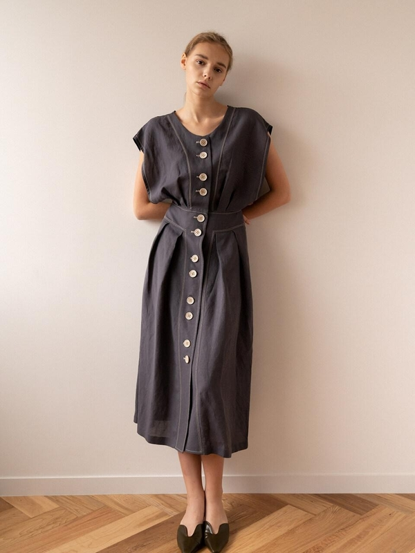 KEUNI Yana 2 In 1 Summer Linen Dress And Beach Cover-Up