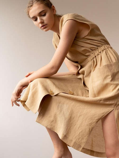 KEUNI Moa Summer Linen Dress And Beach Cover-Up