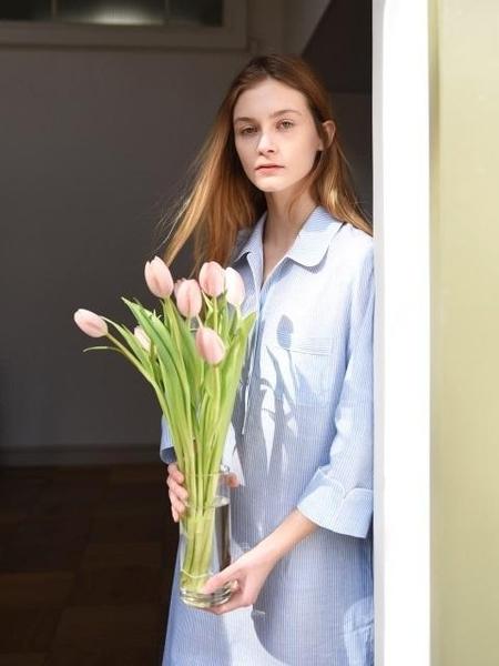 Add Robe Pajama Long Dress - Blue Stripe
