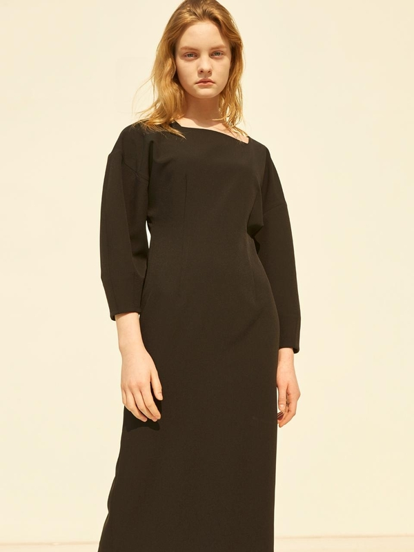 MOHAN Square Neck Slim Dress - Black