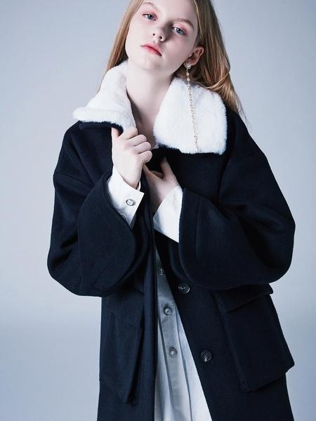Blank Dolly Faux Fur Coat - Navy