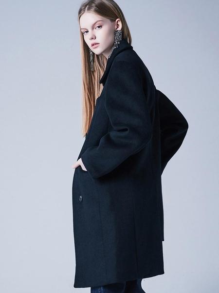 Blank Half Half Coat - Black