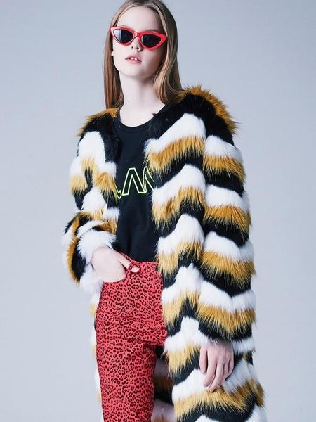 Blank Stripe Faux Fur Coat - Yellow
