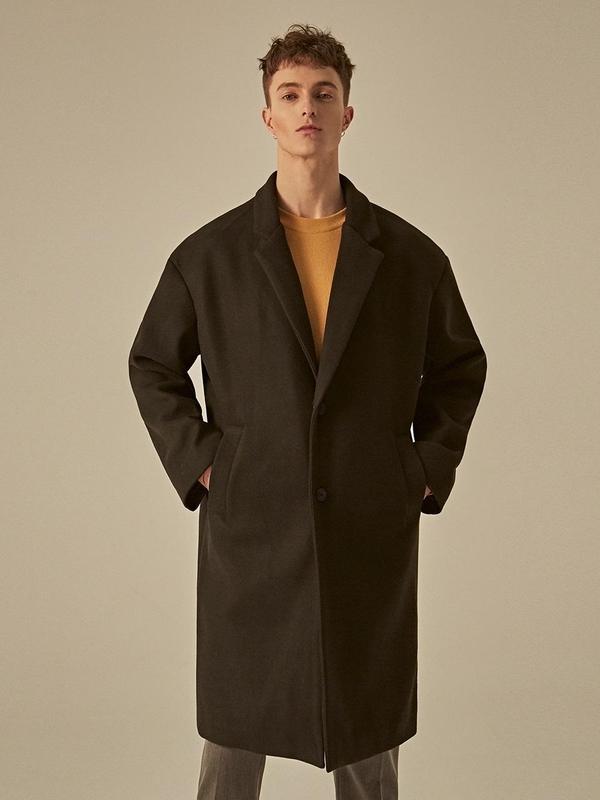 DEANS Semi Over Single Wool Coat - Black
