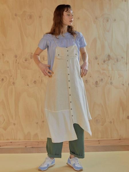 CLOCLOTHES Asymmetric Slip Dress - Beige