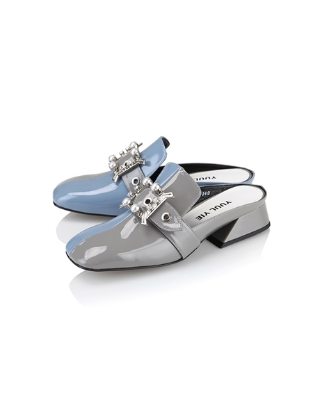 Yuul Yie Square Toe Loafer - Grey/Sky Blue