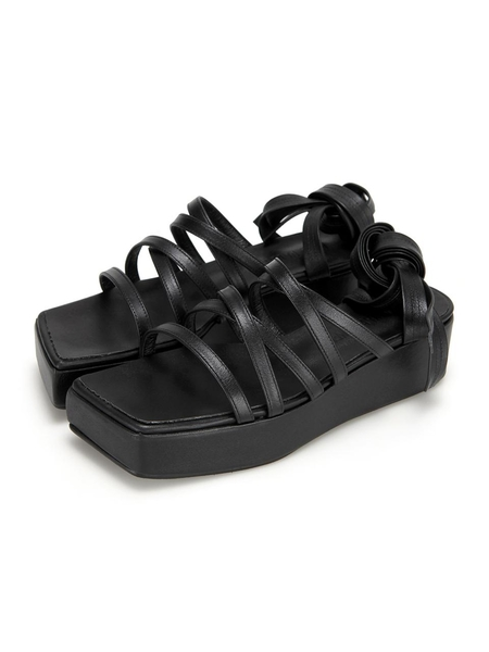 Flat Apartment Square Platform Heel Strappy Sandals - Black