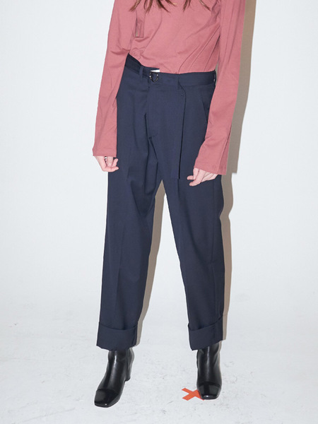 Bouton Roomy Trousers - Navy