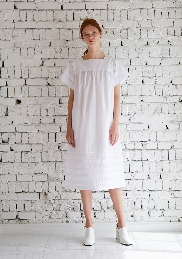 MUSED Conte Pintuck Dress - White