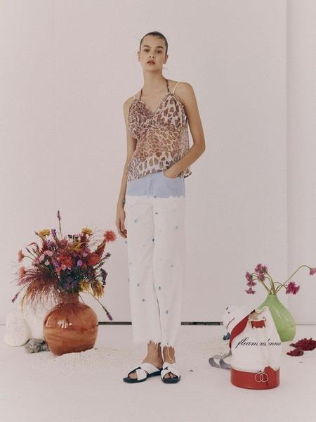 fleamadonna Washed Stone Jeans - Blue/White
