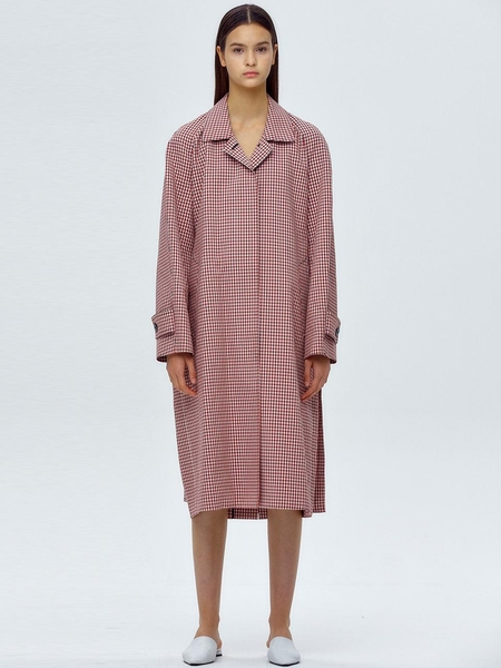 JWL Long Mac Coat With Belt - Check Red