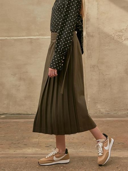 COLLABOTORY Pleats Point Cotton Skirt - Khaki