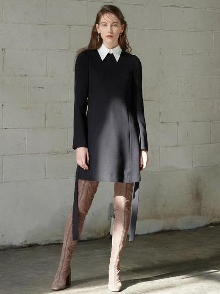 Factorial Label DETACHABLE COLLAR MINI DRESS - BLACK