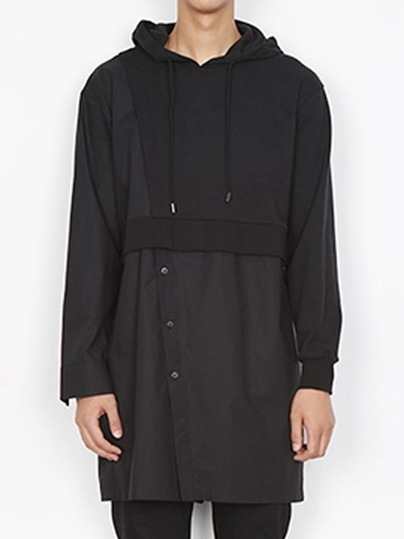 DOZOH Black Long Hoody Comb Shirts - BLACK