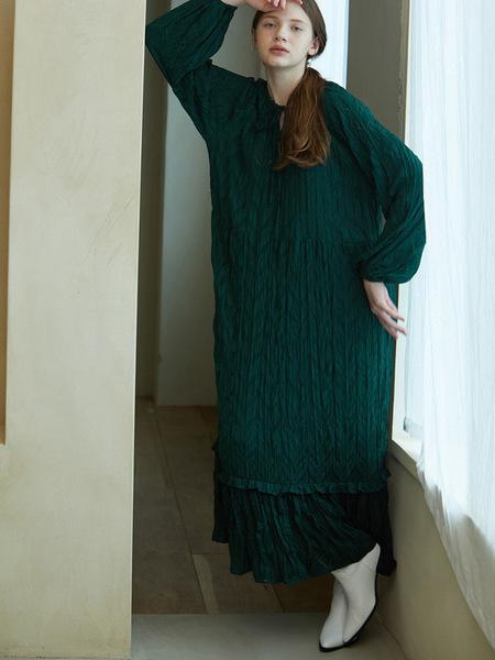 LOOKAST Pleated Long Dress - Green