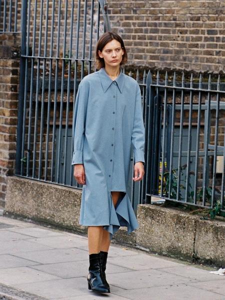 Frontrow x Low Classic Cutting Wool Dress - Dusty Blue