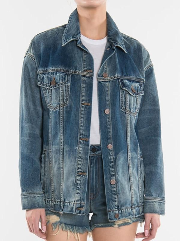 EI8HTDREAMS Oversized Denim Jacket - Dark Vintage
