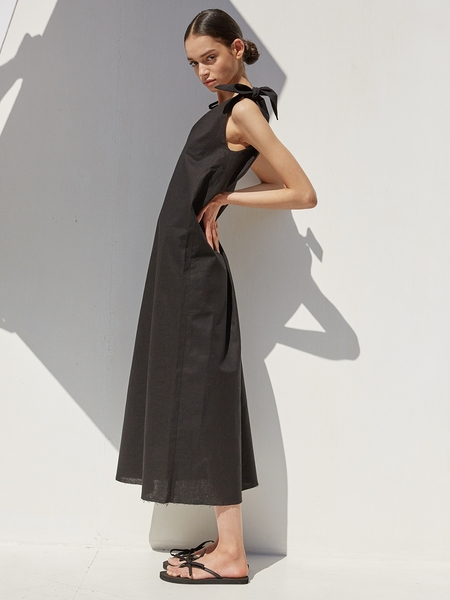 Ecommae Unbalanced Ribbon Linen Long Dress - Black