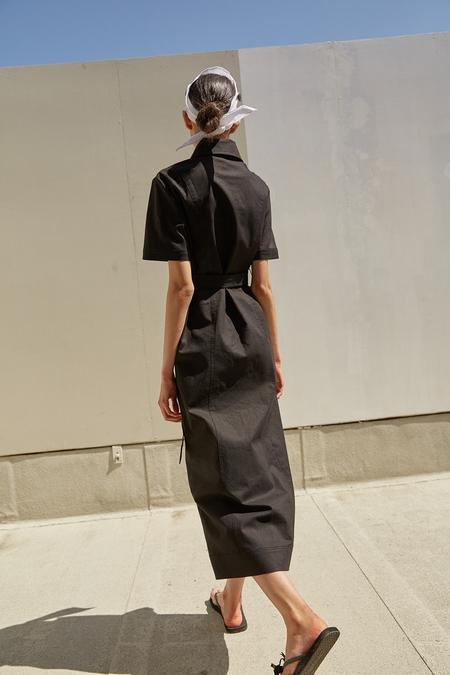 Ecommae Linen Shirt Dress - Black